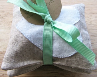 Organic Lavender Sachets with Natural Linen and Hearr Lavender Drawer or Sleep Sachets