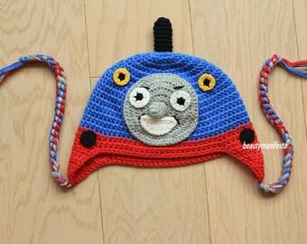 Crochet Train hat. Blue Thomas hat. Boys crochet hat.