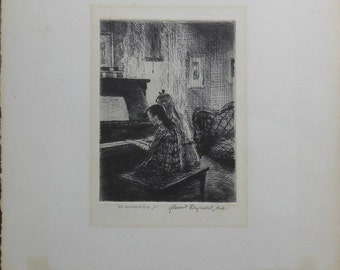 Vintage two girls playing piano etching titled to kathryn -Grant Reynard,na 1930 s