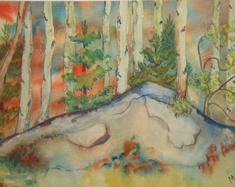 Vintage sunset water color landscape rock and trees signed Mulford