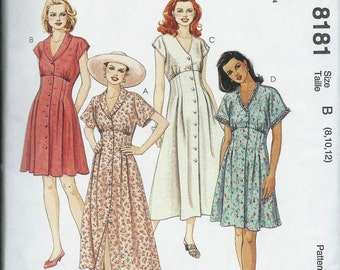 McCall's 8181 Misses Empire Dress Pattern, Two Lengths, Size 8-10-12 Uncut