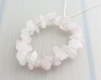 Sales Clearance, Rose Quartz Chip Necklace, Pink Quartz Sterling Silver Necklace, Pink Gemstone Necklace, Pink Oval Pendant