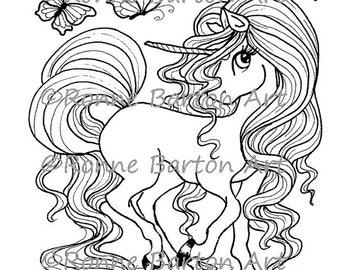 IMG042 Instant Download Printable Coloring Page Big Eye Unicorn Fantasy Art Digi Digital Stamp