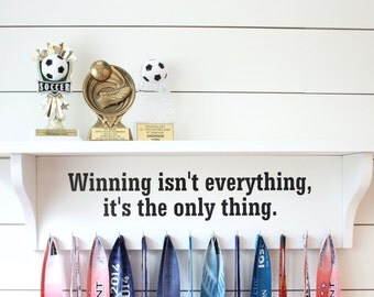 Trophy Shelf 3 Feet Wide and Medal Holder Extra Large Display Customizable You Can Pick the Saying