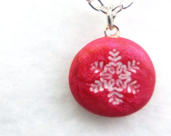 Snowflake Charm Necklace,  Polymer Clay Jewelry, Small Pendant, Magenta Winter, Red Christmas