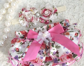 2-pc set Girls birthday, photo prop outfit-Include bloomer and a matching headband