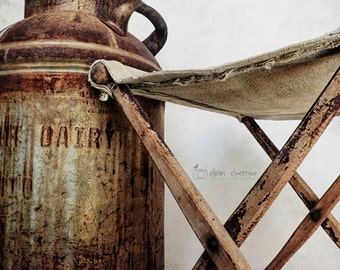 Kitchen Decor, Farm Art, Rustic Farmhouse Art, Brown & Gray, Neutral Wall Art, Milk Can Photograph | 'Milking Stool'