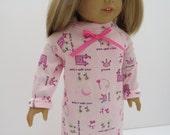 American Girl Doll Clothes; American Girl Doll Nightgown; Doll Sleepwear; Doll Princess Nightgown; Pink Doll PJ's