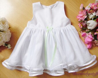 Short christening 100% cotton, gown tulle/satin