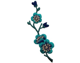 ID #6587A Teal Blue Flower Buds Patch Tree Branch Nature Craft Iron-On Applique