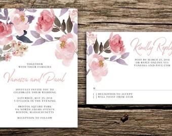 Blush Flowers Wedding Invitation // Blush Pink Invitations Watercolor Peony  Floral Modern Wedding Hand Painted