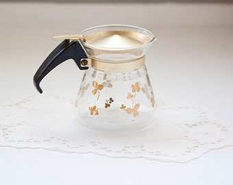 Small Pyrex Glass Pitcher with Gold Leaf Accents