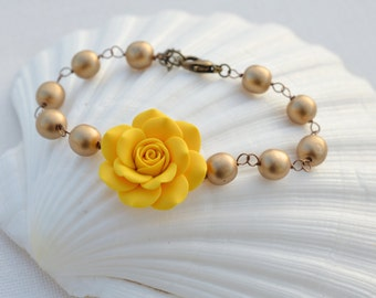 Golden Yellow Rose and Antique Gold Beads Link Bracelet
