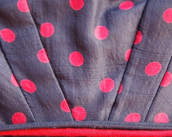 1950's blue and red polka dot fitted silk dress