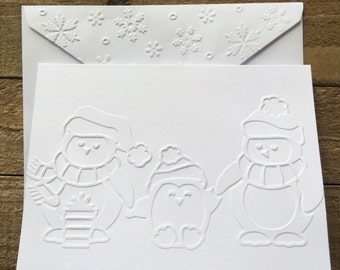 Penguin Family White Embossed Note Cards, Stationary Set, Greeting Cards, Penguin Holiday Cards, Penguin Christmas Cards Set, Christmas Set