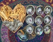 Smudge kit - bundle - crystals Sage Palo santo & Abalone shell