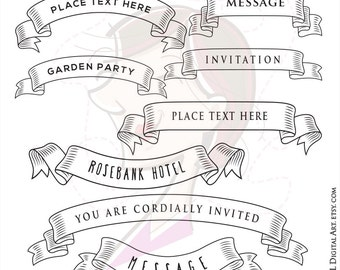 Retro Banner Ribbon Clipart Make Wedding Invitations Business Labels Tags Transparent Middle Old Fashioned Hand Drawn Scrolls Vector 10069