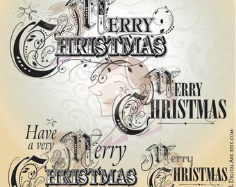 Merry Christmas Clipart Typography Logo Designs COMMERCIAL USE Retro Decor Clip Art Xmas Decorations Cardmaking VECTOR Images 10051