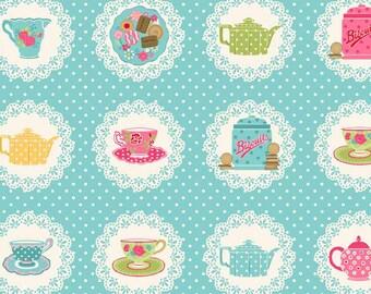 Chintzy tea party doilies / Makower Tea Party / patchwork quilting fabric / fat quarter