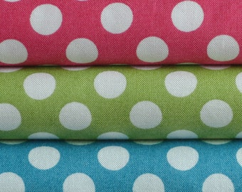 Large white dots / Makower Spots Large Polka Dots / patchwork quilting fabric / fat quarter
