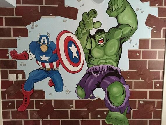 Avengers Mural Canvas Mural Superhero Painting By
