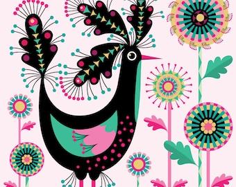 Pink Petal Bird Print