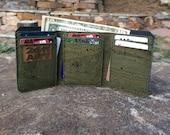 Jade Green Cork Tri Fold Wallet / Men's Cork Wallet / Men's Wallet / Cork Wallet / Tri Fold Wallet / Vegan Leather Tri Fold Wallet