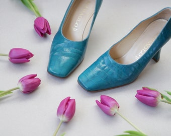 MARAOLO Italian vintage turquoise teal green blue leather mid high heel pumps shoes 6