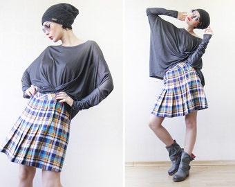 Vintage blue white yellow tartan plaid wool high waist pleated wrap mini skirt