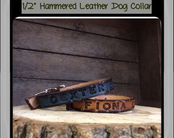 Personalized Genuine Leather Dog Collar hand tooled and customized for your special pet