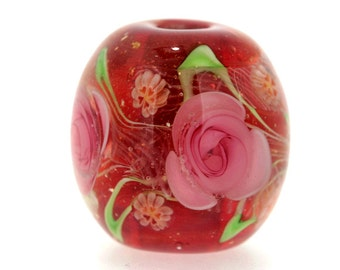 "Big handmade Lampwork Japanese Satake Glass Focal Bead ""Rose"" A08 SRA Shirley"