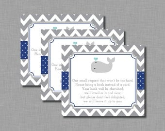 Navy Whale Book Shower In lieu of book BE03 Printable - Instant Download