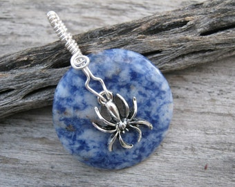 Sodalite Spider Necklace, Gemstone Donut Jewelry, Wire Wrapped Blue Gemstone, Boho Pendant, CHOOSE Necklace and Length, Ready to Ship