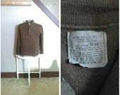 In the Field 1960s Men's Brown Army Issue Wool Ribbed Sweater/Henley with Button Detail