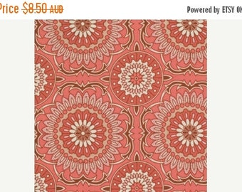 ON SALE Joel Dewberry Fabric - 1/2 Metre Bungalow -  Doily in Coral / Free Spirit Fabric