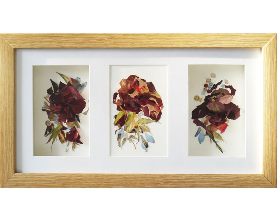 wall art frame set of 3 artworks floral art triptych art 3d. Black Bedroom Furniture Sets. Home Design Ideas
