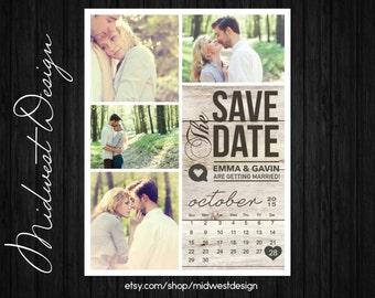 Save The Date Magnet, Card or Postcard . Modern Rustic Calendar