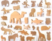 ANY 6 animals - Organic wooden toy - Wooden toy animals - handmade wooden toy