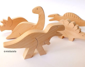 Handmade wooden toy set - Dinosaurs