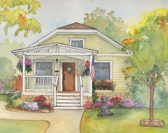 Personalized House Painting - A home portrait painted in watercolor with ink detailing - Ancestral home - Genealogy - family history