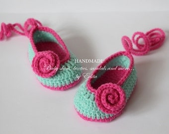 Crochet baby shoes, baby girl shoes, booties, Mary Janes, slippers, ballerina,mint, pink, roses,  READY TO SHIP,0-3 months, baby shower gift