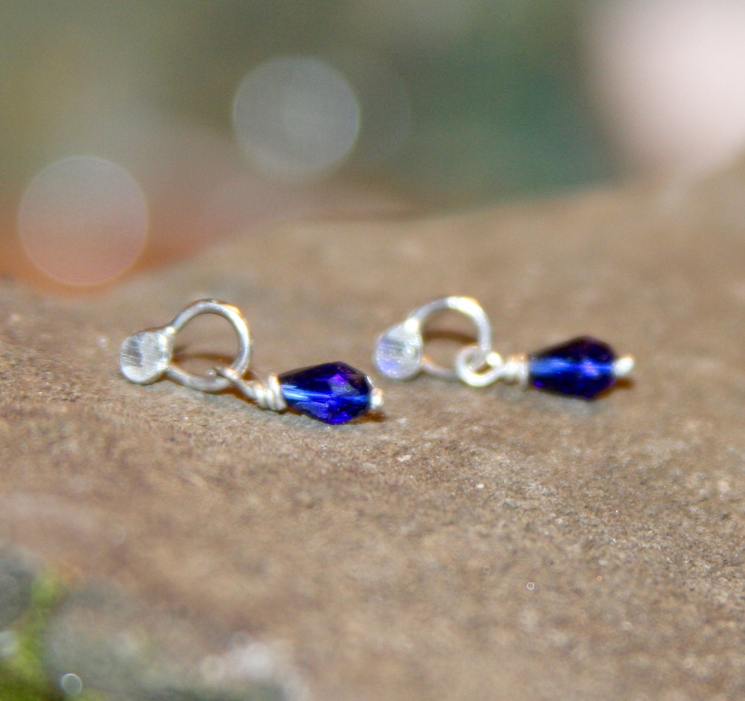Small Blue Earrings: Small Blue Crystal Silver Earrings Tiny Blue Stud Earrings