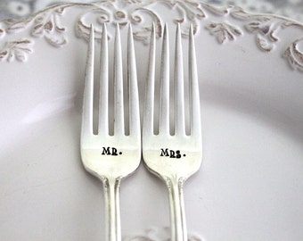 Mr. & Mrs. WEDDING Forks Cake Table Setting Decor Forks Hand Stamped - REMEMBRANCE 1948 - Ready To Ship