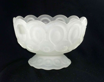 L.E. Smith Moon and Stars Satin Glass Compote Footed Vintage
