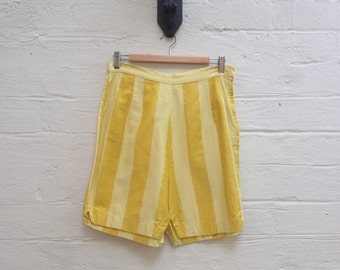1960s High Waisted Shorts.  Yellow Striped Shorts.