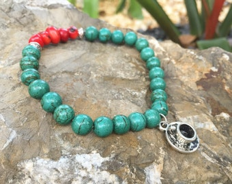Green Turquoise Magnesite Beaded Bracelet with Coffee Charm