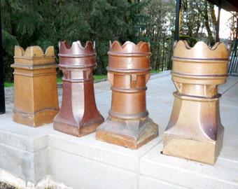 Antique 1800s Rare English Salt Glazed Chimney Pot Garden Statue Terra Cotta Crown Stoneware Industrial Farmhouse French Country Primitive