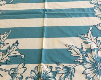 SALE Gorgeous Blue Flowers and Striped Tablecloth
