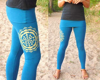Libra Leggings: Skirted Yoga Pants with Sri Yantra Screenprint. Fitted yoga pants with fold over skirt waist. Organic Cotton Blend Jersey.