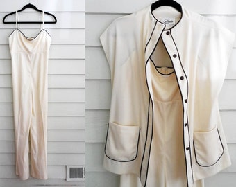 1960s or 70s cream and brown formal jumpsuit / Medium to Large vintage wide-leg pantsuit with jacket / empire waist